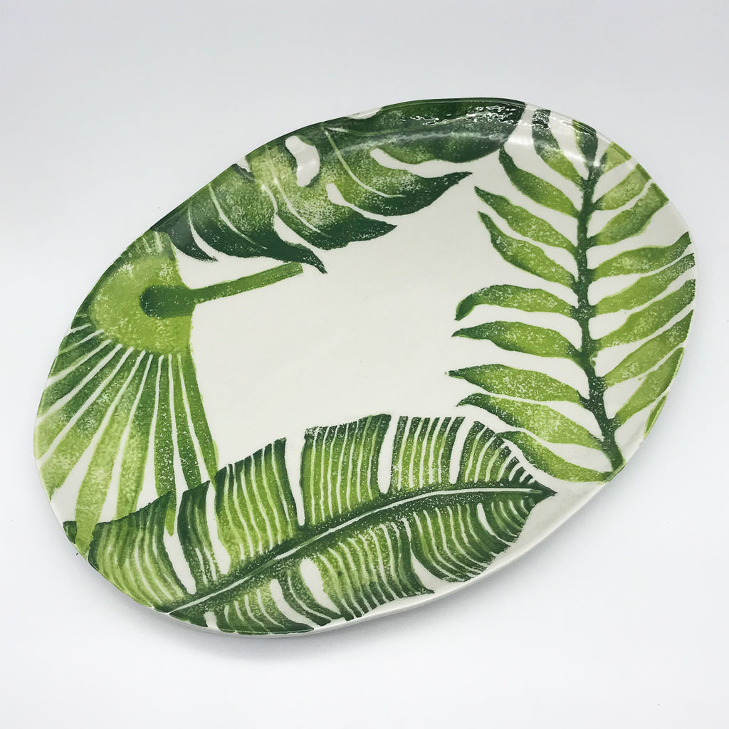 Jungle Leaves Oval Platter