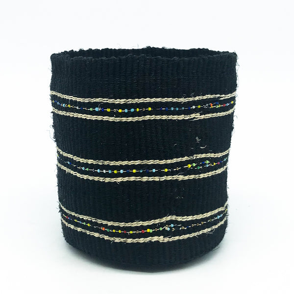 Swahili Beaded Basket - Black S