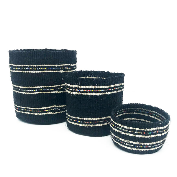 Swahili Beaded Basket - Black