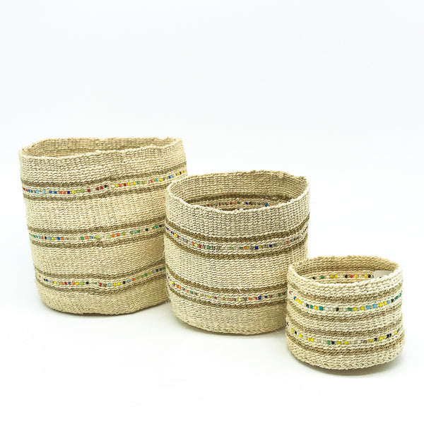 Swahili Beaded Basket - Natural