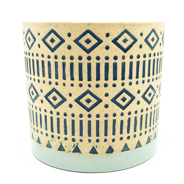 Tulum Planter - blue diamond aztec