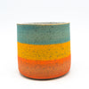Double M Pottery - Wide Multi Stripe in orange/teal