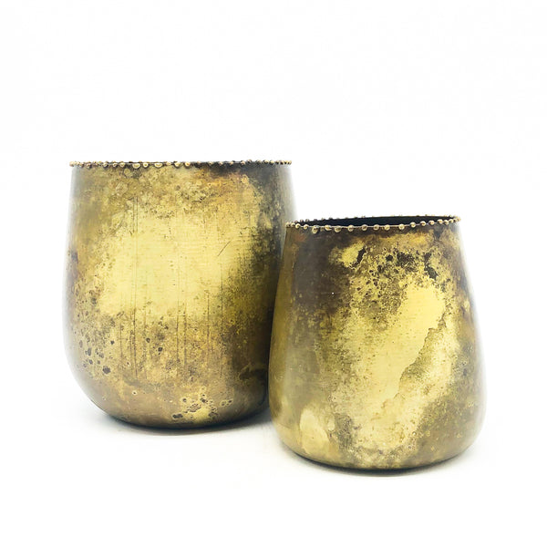 Distressed Brass Metal Planter