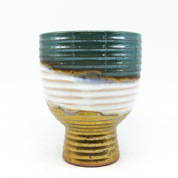green gold and white Chalice Pot
