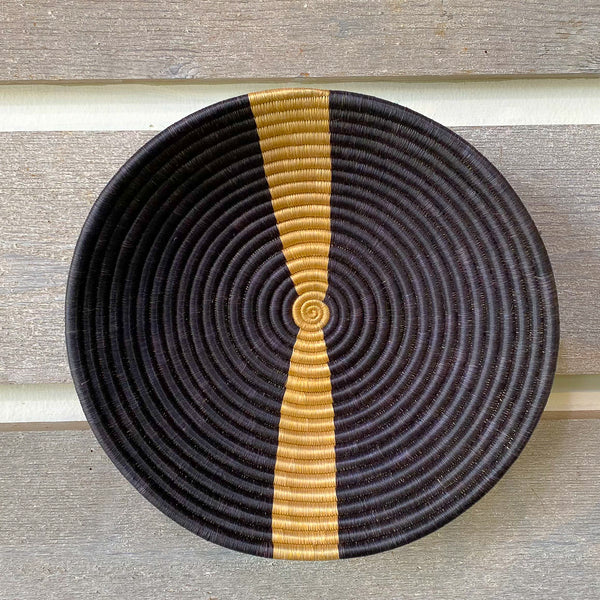 Rwandan Sisal & Sweetgrass Bowl black natural