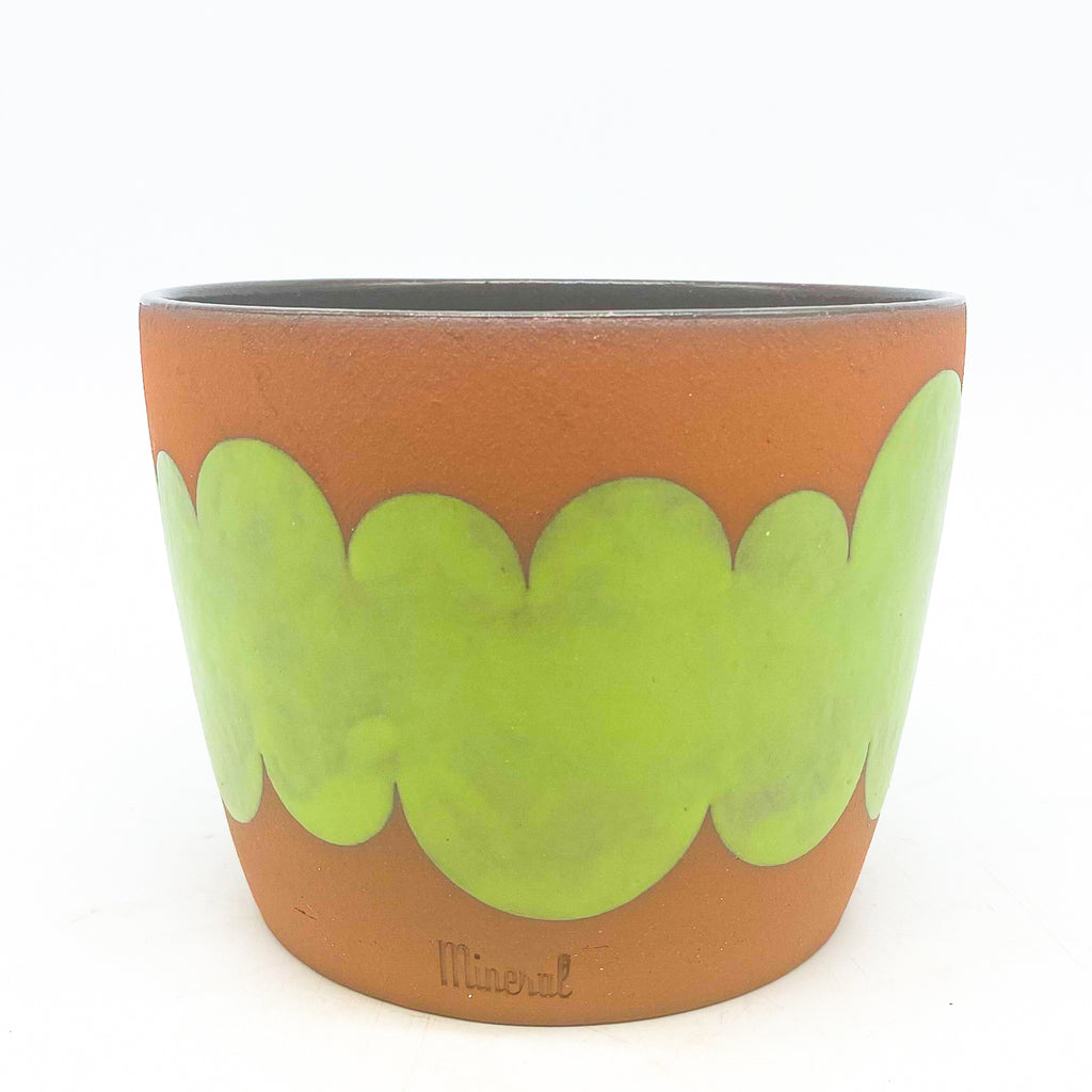 Mineral Ceramics Green Clouds on Red Clay Planter