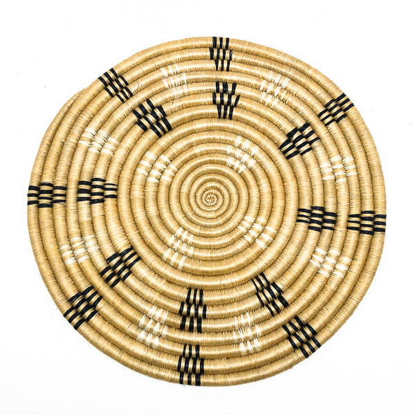 Rwandan Sisal & Sweetgrass Trivet natural black cream