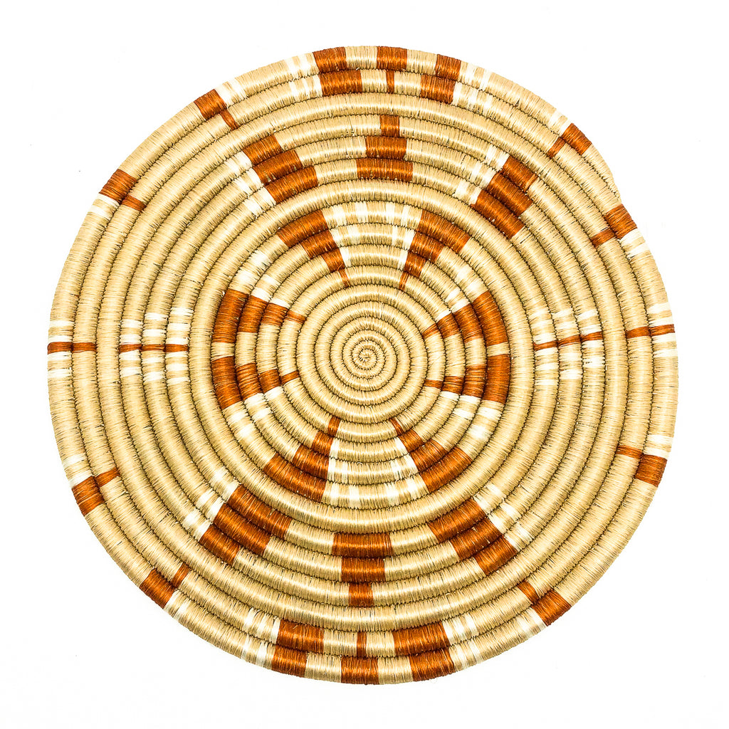 Rwandan Sisal & Sweetgrass Trivet red cream