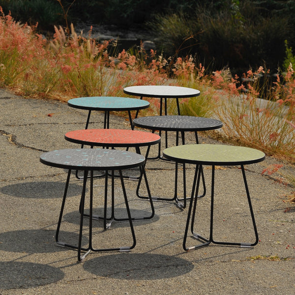 All six colors of Potted's Midge outdoor tiled side table near the LA River.