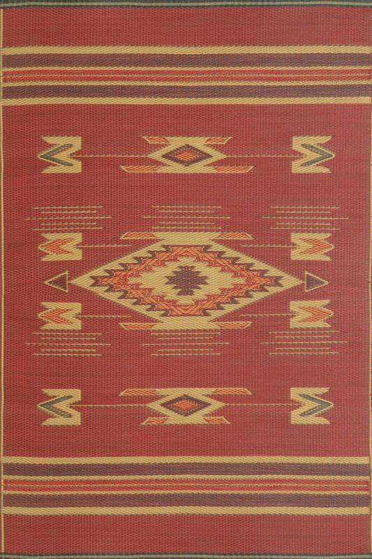 Red Navajo Mad Mats outdoor rug color sample.