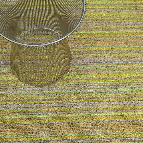 Citron skinny stripe Chilewich outdoor mats.