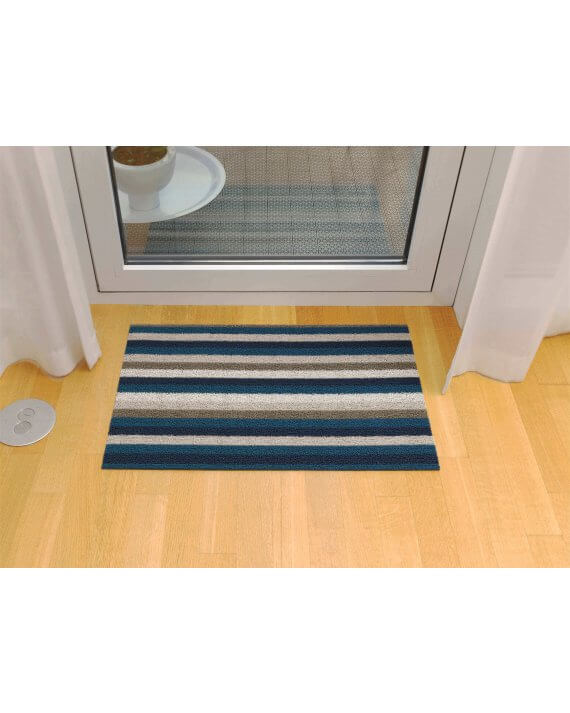 Chilewich shag mat in marine even stripe by front door.