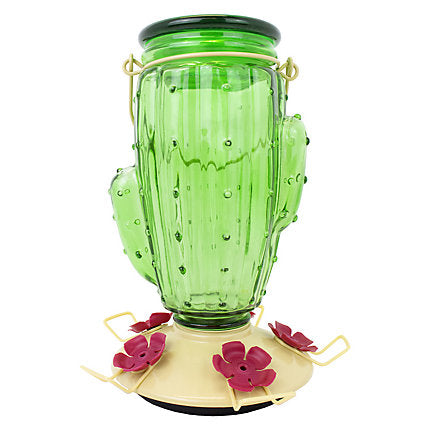 Green Glass Cactus Hummingbird Feeder