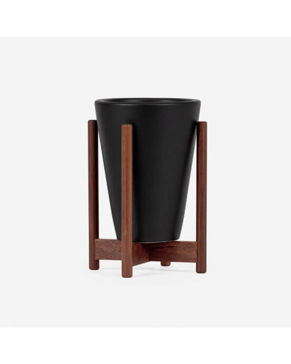 Modernica Case study desk top funnel planter with walnut stand in charcoal.