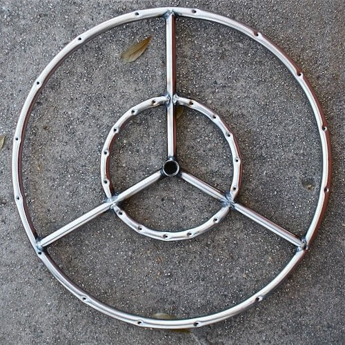Stainless steel fire ring for use with exterior fire pits.