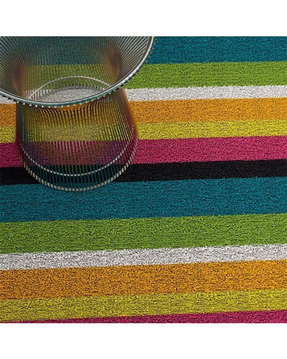 Bold multi stripe outdoor Chilewich mat close up.