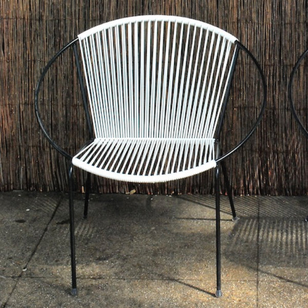 Mid-Century Hoop Chair-Black Frame, White Cording.