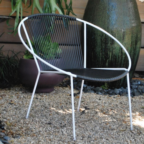 Mid-Century Hoop Chair-White Frame, Black Cording.