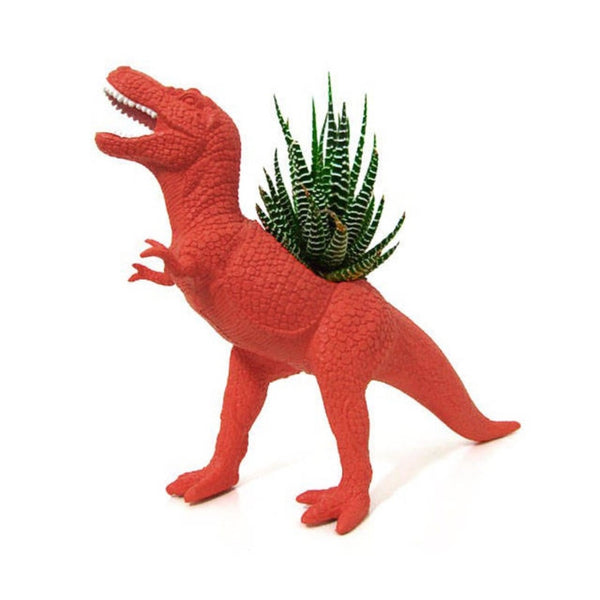 A T. Tex dinosaur planter in red.