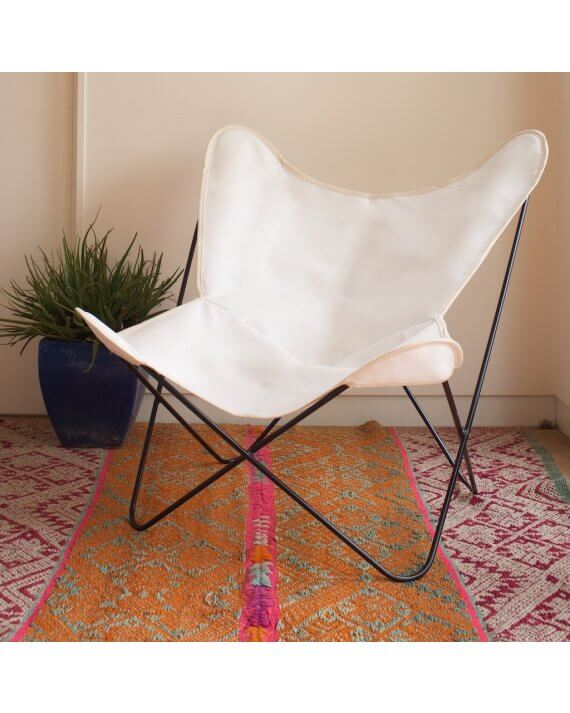 White spaceweave butterfly chair cover on black frame.