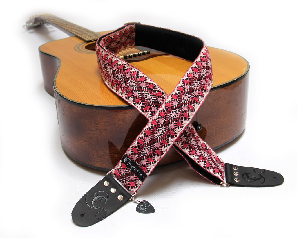 "Raspberry Lace 2"" Guitar Strap"