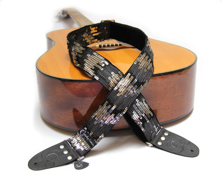 "Sequin Ombre Black 2"" Guitar Strap"