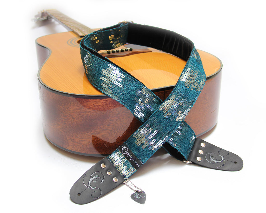 "Sequin Ombre Teal 2"" Guitar Strap"
