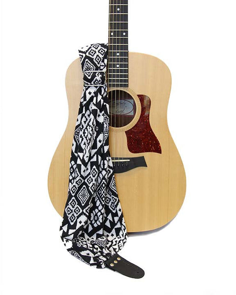 Midnight Ikat Scarf Guitar Strap