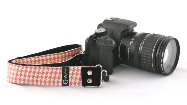 "Houndstooth Pink 1.5"" Camera Strap"