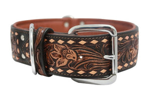 Western Leather Big Dog Collar