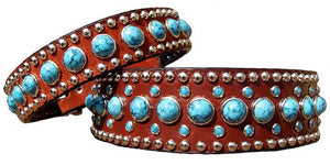 Turquoise leather collar