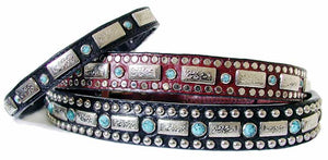 southwest turquoise and silver dog collar