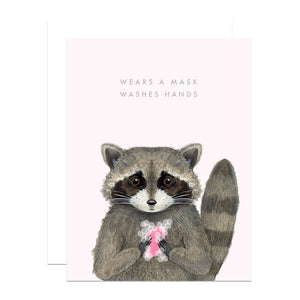 """Wears a Mask Washes Hands"" Raccoon Greeting Card"