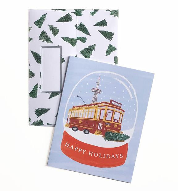 Vintage Streetcar Holiday Card