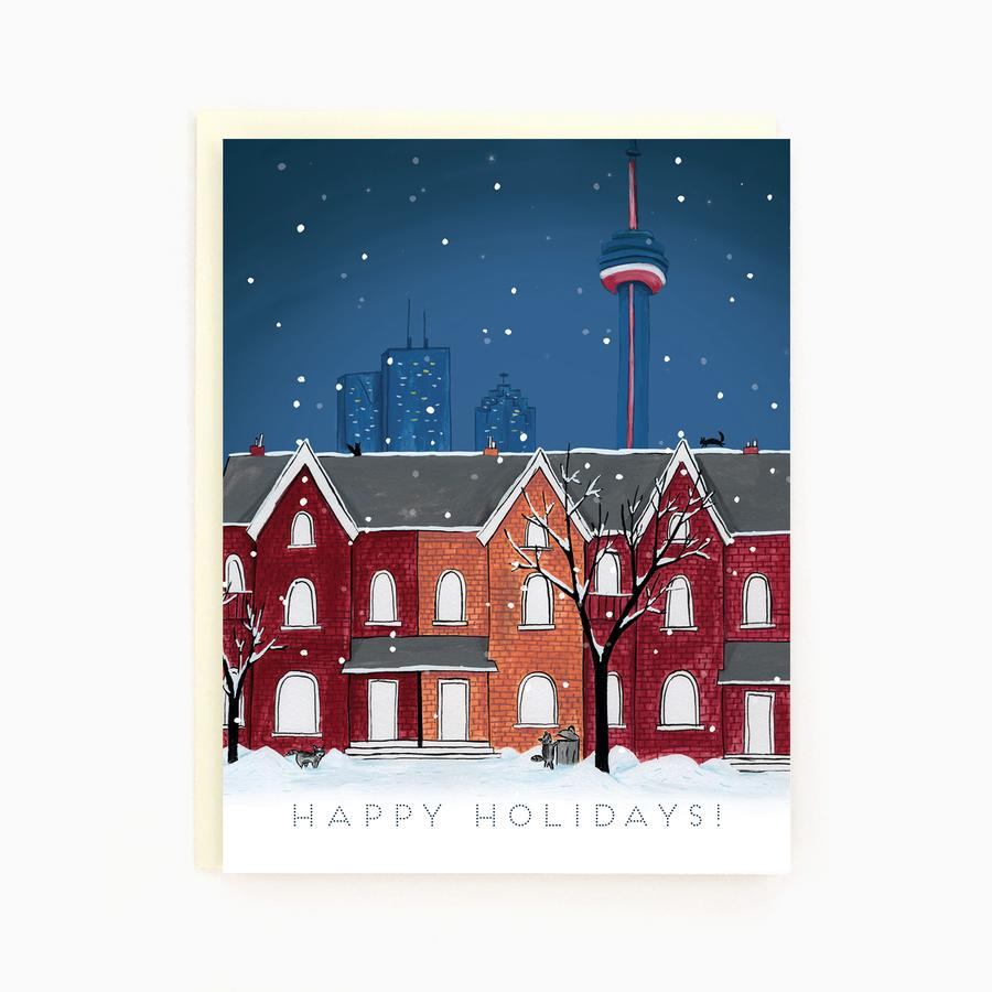 Toronto Snowy Night Holiday Greeting Card
