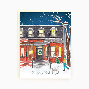 Victorian Row Houses Holiday Greeting Card