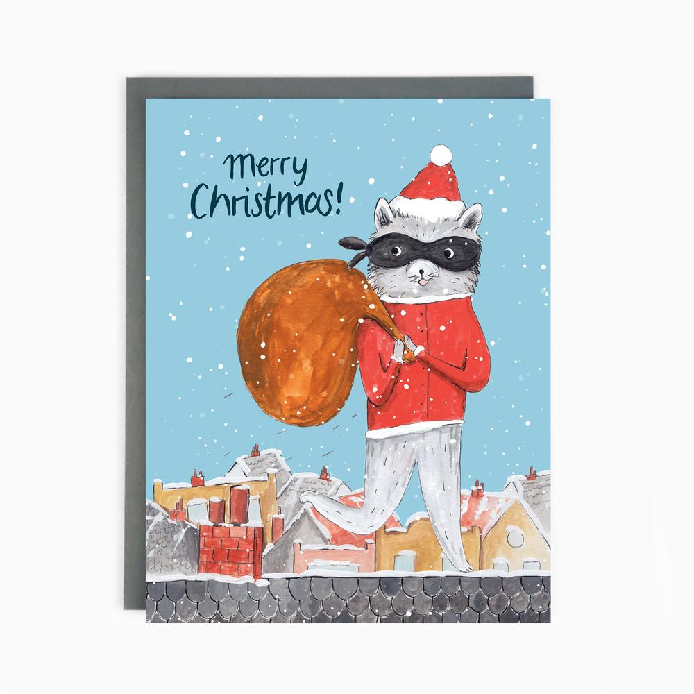 Raccoon Santa Christmas Holiday Greeting Card