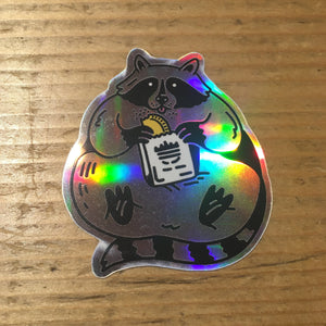 Raccoon Eating a Patty Holographic Sticker