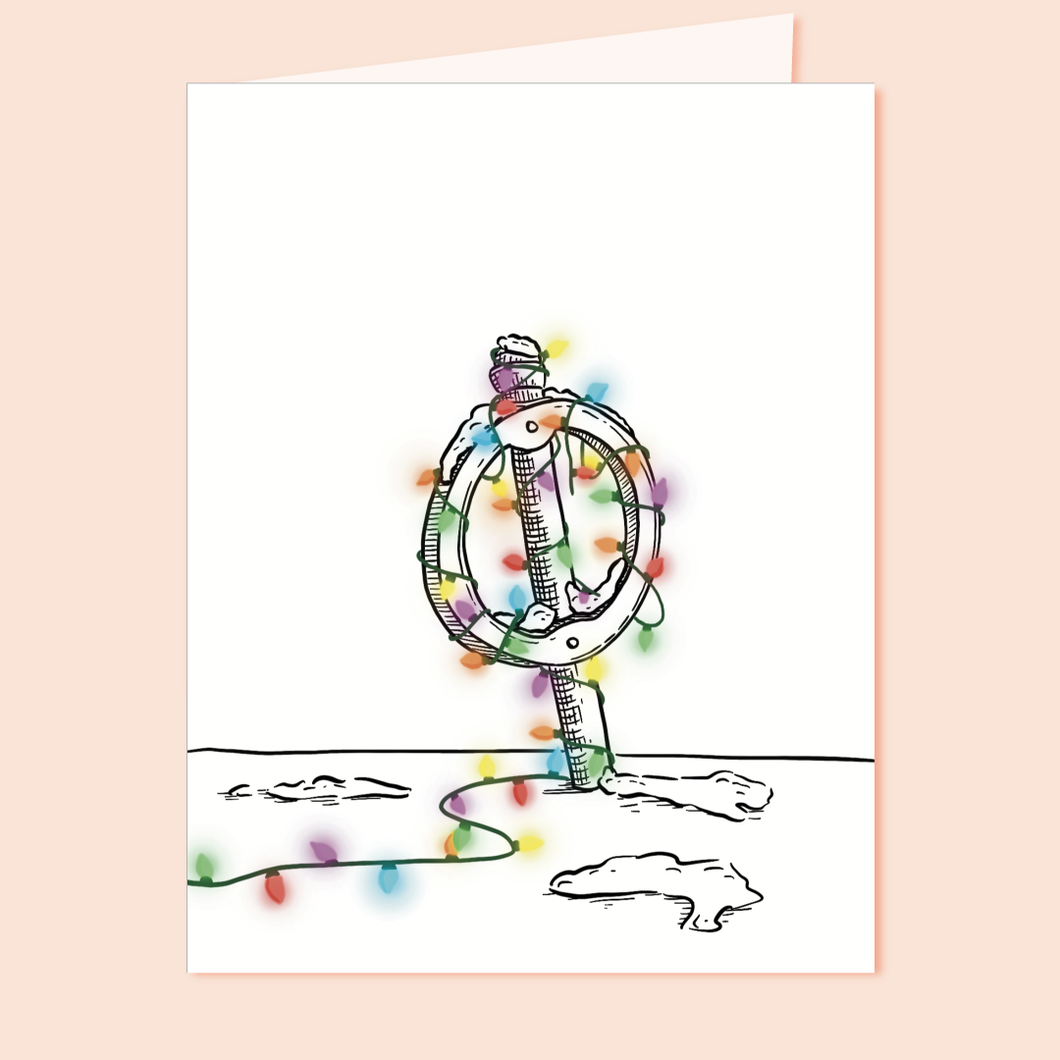 Festive Post and Ring Bicycle Rack Holiday Greeting Card