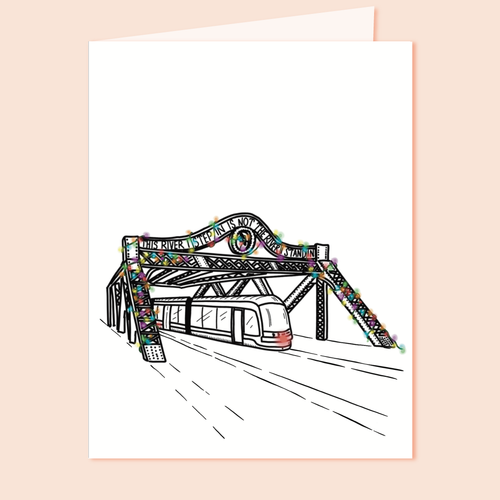 Festive Queen St. Bridge Holiday Greeting Card