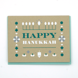 Happy Hanukkah Folk Art Greeting Card