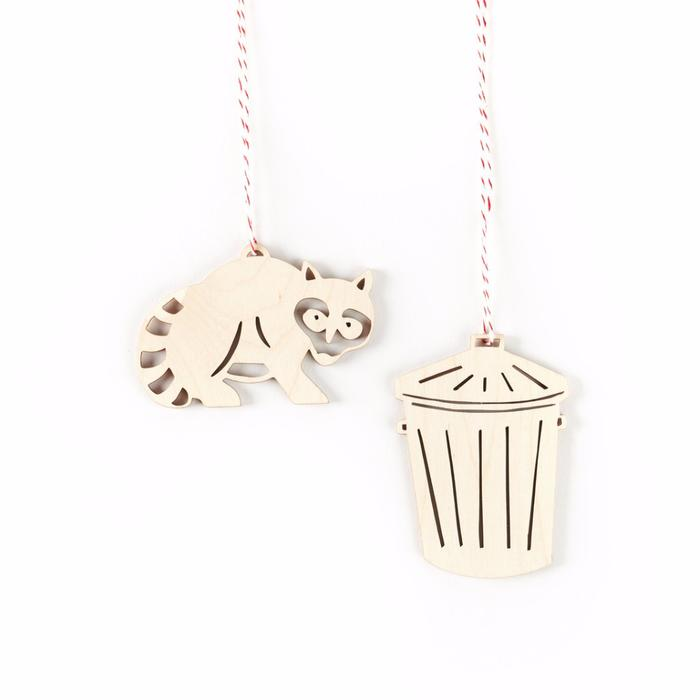 Raccoon and Trash Can Wooden Ornaments