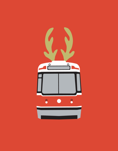 Streetcar with Antlers Christmas Card