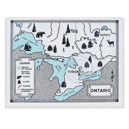 Map of Ontario Greeting Card with Toronto Button