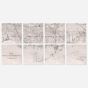 Toronto Map Ceramic Coasters (set of 8)