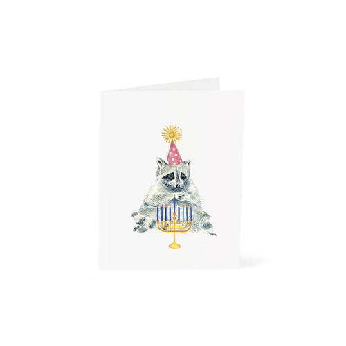 Raccoon with Menorah Hanukkah Card