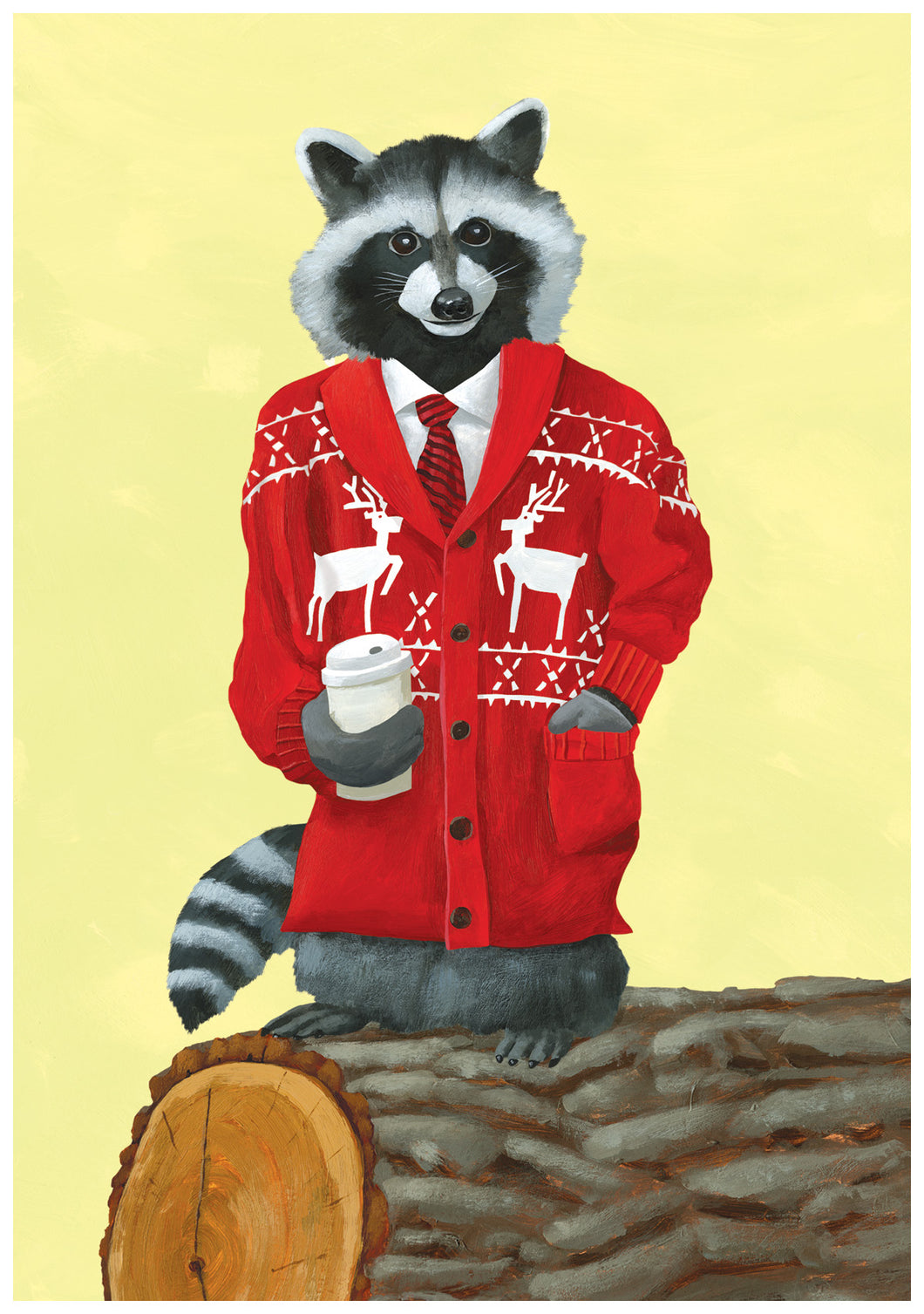 Dapper Raccoon Holiday Greeting Card
