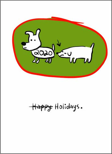 Dog Sniffing Butt Holiday Card
