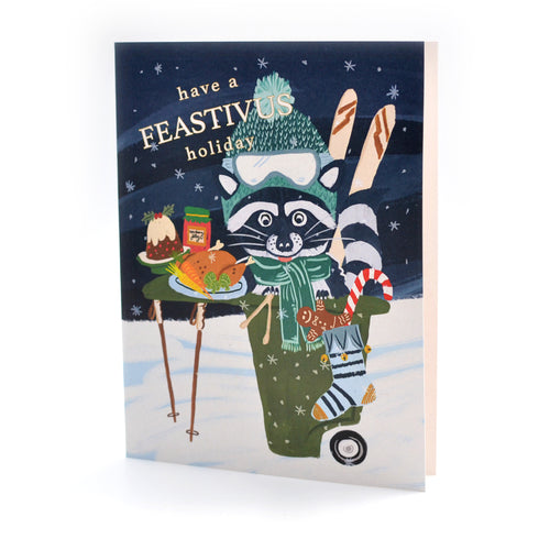 Raccoon Feastivus Holiday Card & Boxed Set