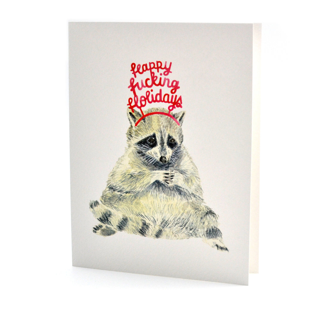 Raccoon Happy F*n Holidays Card